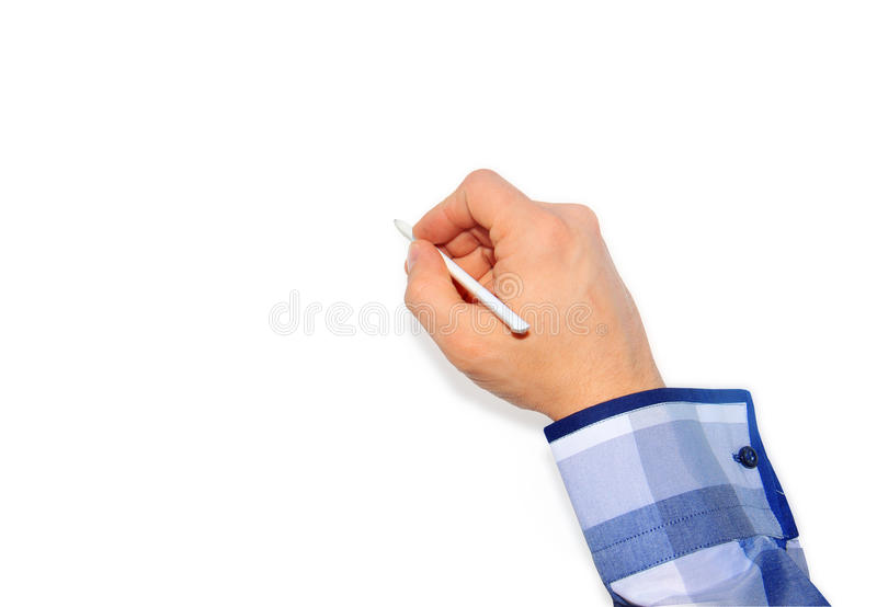 Manlig hand som rymmer en blyertspenna på en vit royaltyfria foton