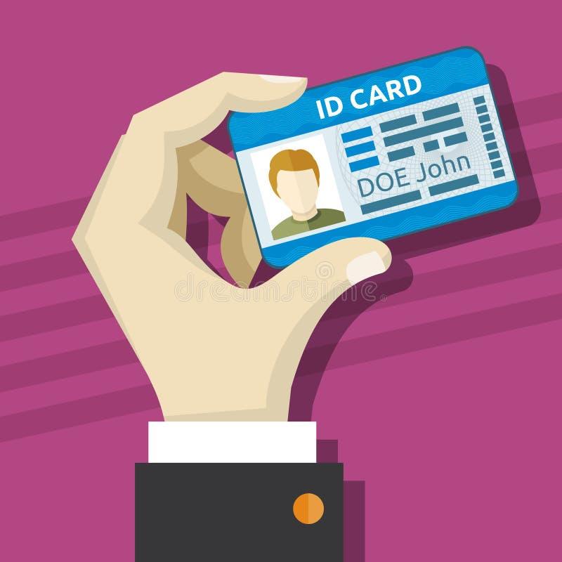 Manlig hand som rymmer ID-kortet med fotovektorillustrationen stock illustrationer
