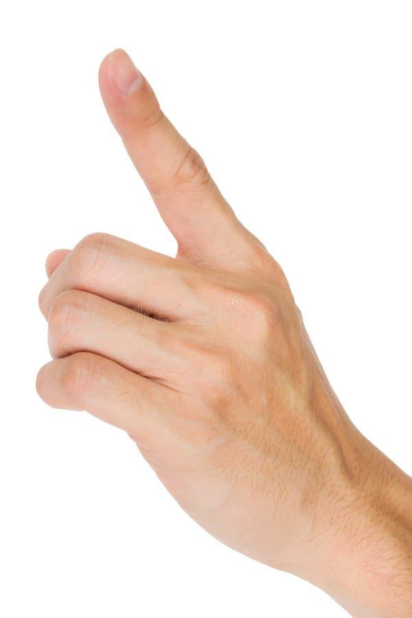 Manlig hand som trycker på eller pekar till något royaltyfria foton