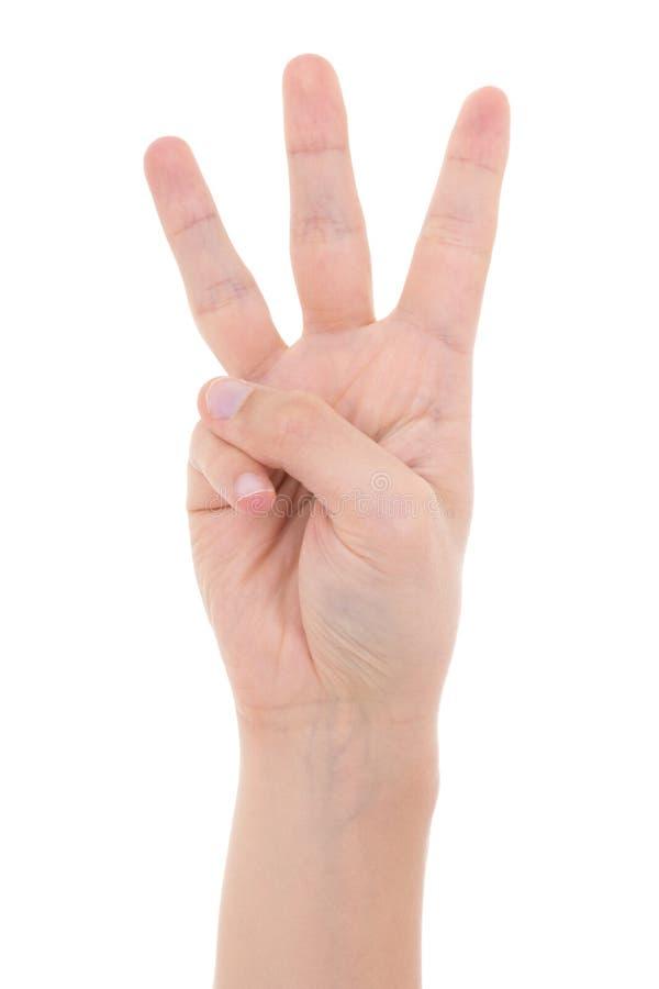 Manlig hand som visar tre fingrar som isoleras på vit royaltyfri foto