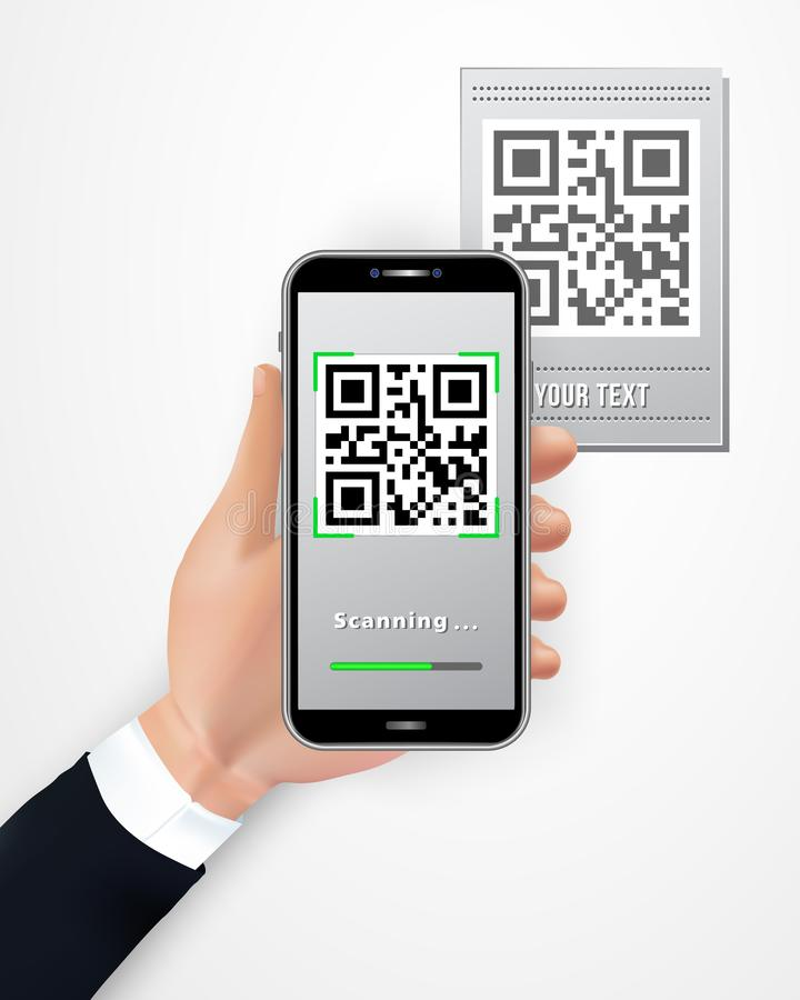 Manlig handinnehavsmartphone med den mobila appen för QR-kodbildläsare som isoleras på vit bakgrund Cashless betalningteknologibe stock illustrationer