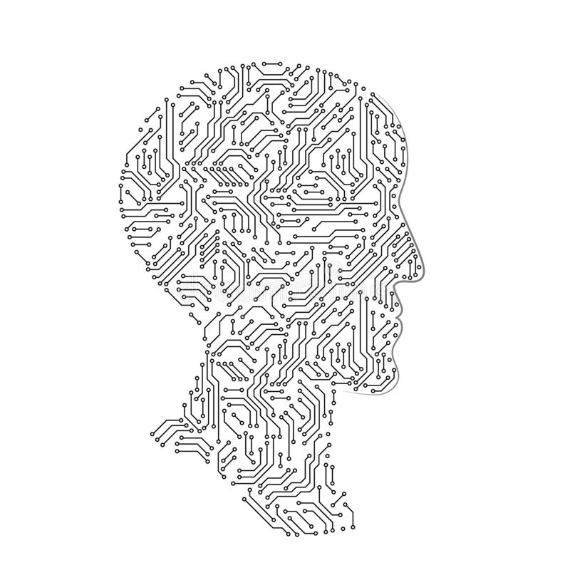 Manlig huvudprofilkontur som göras med brädet för utskrivaven strömkrets, futuristiskt begrepp för svartvitt konstgjort intellekt royaltyfri illustrationer