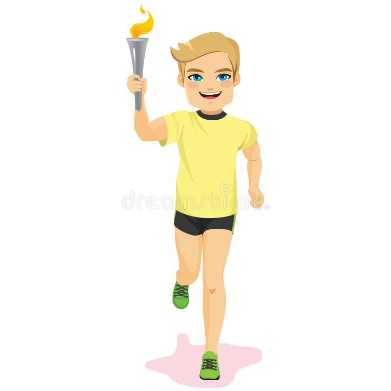 Manlig idrottsman nen Torch stock illustrationer