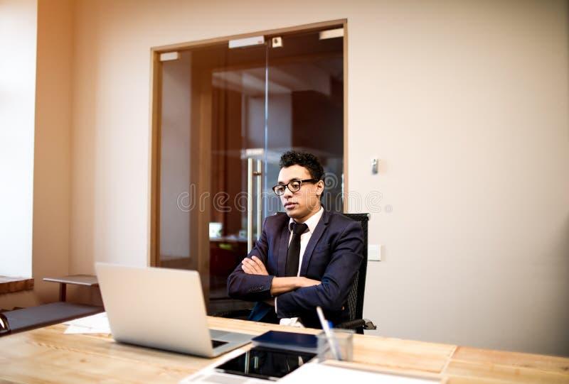 Manlig information om advokatläsning på netbook vd som har online-appell på anteckningsboken royaltyfria foton