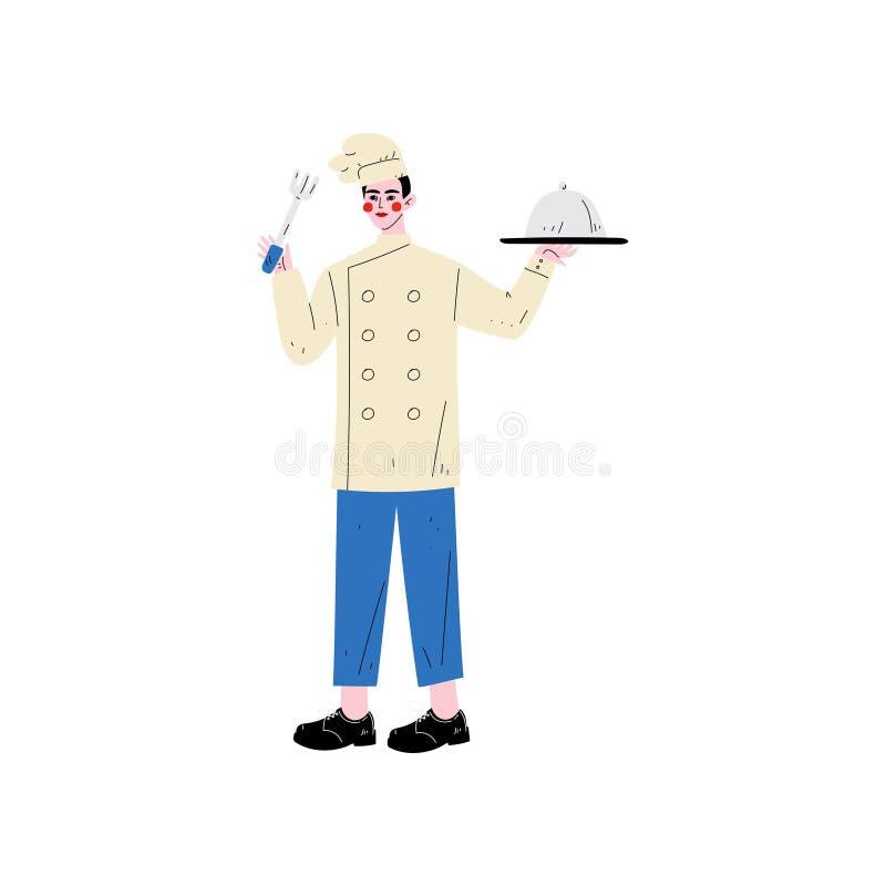 Manlig kock Holding Platter Cloche och gaffel, hotellpersonaltecken i enhetlig vektorillustration royaltyfri illustrationer