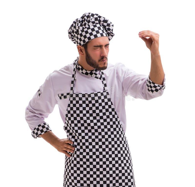 Manlig kock som isoleras p? den vita bakgrunden arkivfoto