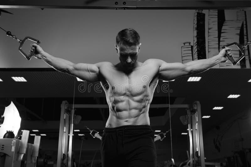 Manlig konditionmodell med den nakna torson som poserar i idrottshall fotografering för bildbyråer