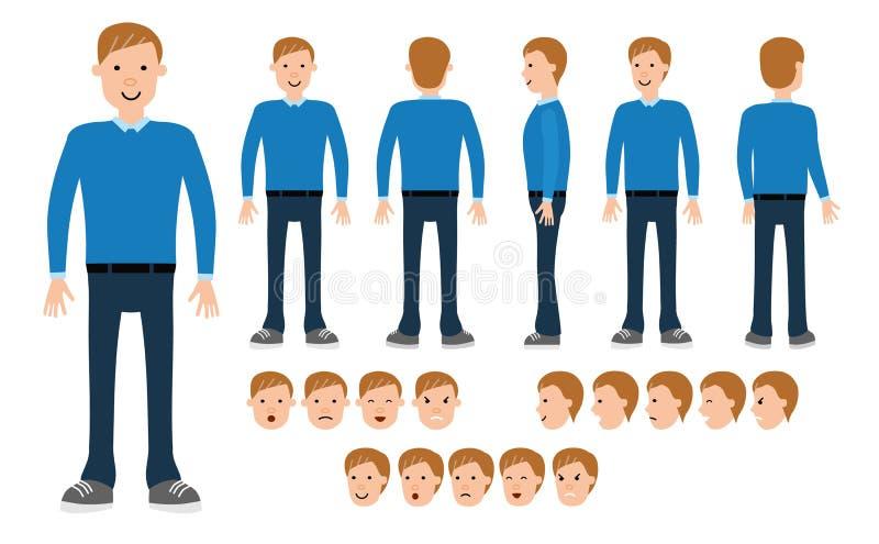 Manlig konstruktion för olikt poserar uppsättningen vektor illustrationer