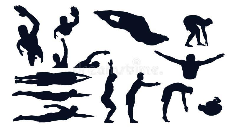 Manlig konturuppsättning för simning stock illustrationer