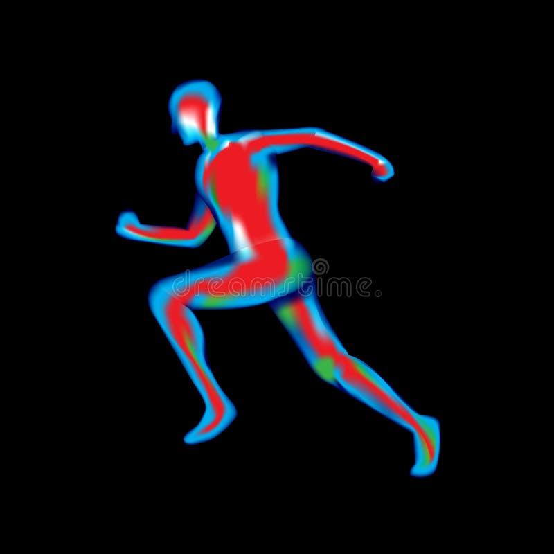 Manlig kropp under röntgenstrålar som isoleras på svart, vektor royaltyfri illustrationer