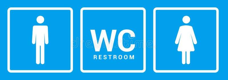 Manlig kvinnlig badrumsymbol Symbol för tecken för toalettpojke- eller flickadam Begrepp för toalettwc-vektor royaltyfri illustrationer