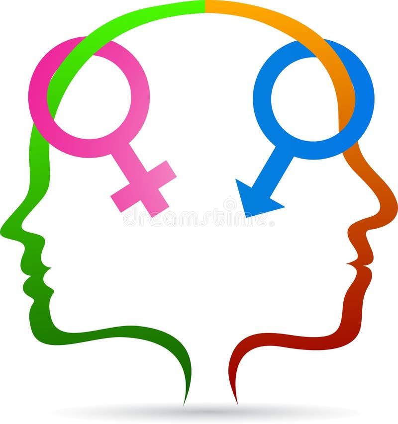 Manlig kvinnlig sexsymbol royaltyfri illustrationer