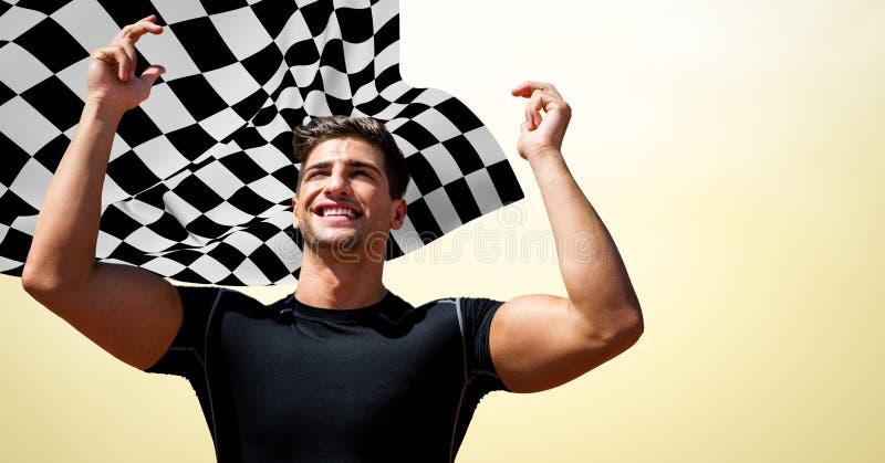 Manlig löpare med händer i luft mot gul bakgrund och rutig flagga royaltyfri foto