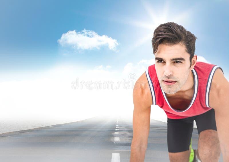 Manlig löpare på vägen och himmel med solen royaltyfri illustrationer