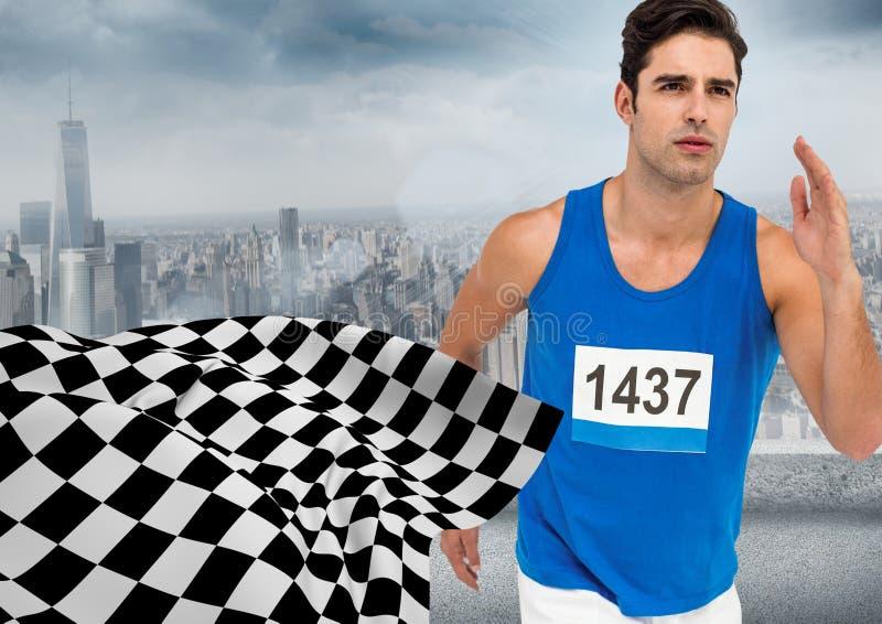 Manlig löpare som sprintar mot horisont och rutig flagga royaltyfria foton