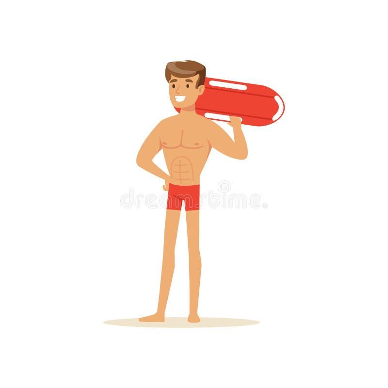 Manlig livräddare i röda kortslutningar som står med bojet för livpreserver, yrkesmässig räddare på strandvektorillustrationen royaltyfri illustrationer