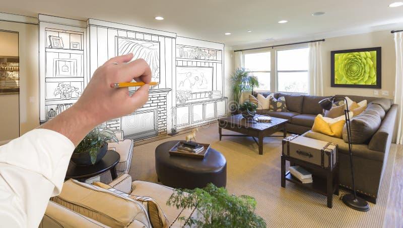 Manlig mitt för handteckningsunderhållning över fotoet av hem- Interi arkivfoto