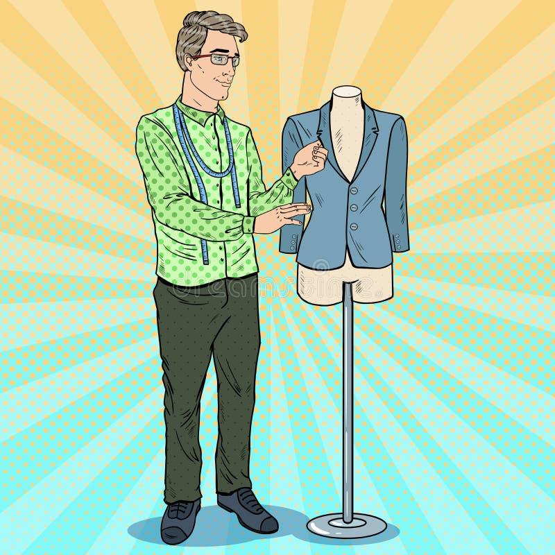 Manlig modeformgivare på arbete med skyltdockan kvinnor för textil för lager för insida för industri för klädattrappkvinnlig Retr royaltyfri illustrationer
