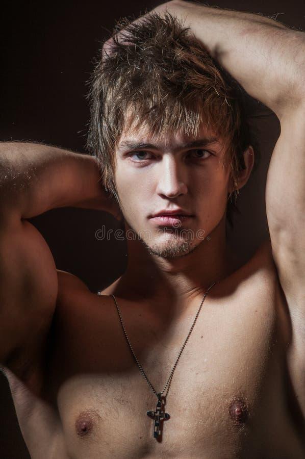 Manlig modellclouse-up royaltyfri fotografi