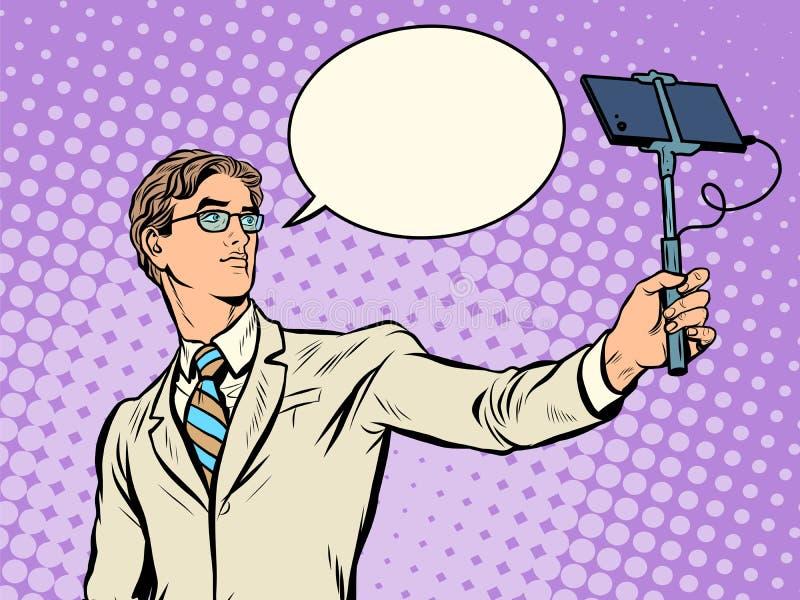 Manlig narcissist som gör selfies stock illustrationer