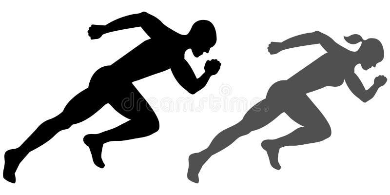 Manlig och kvinnlig sprinter stock illustrationer