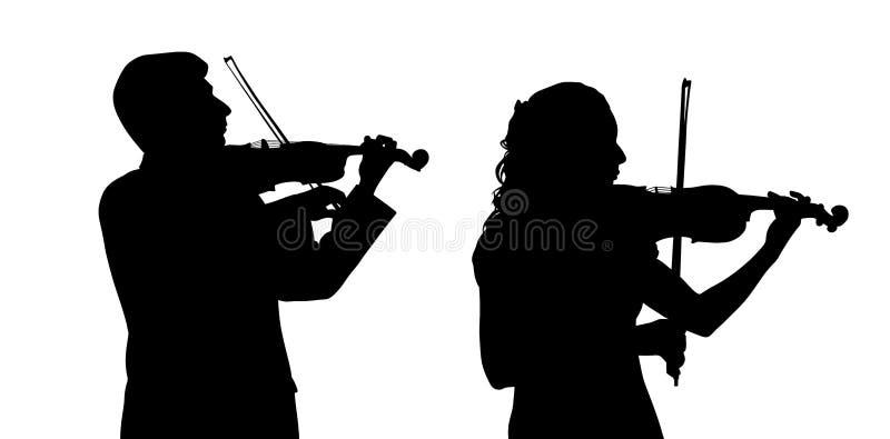 Manlig och kvinnlig violinist royaltyfri illustrationer