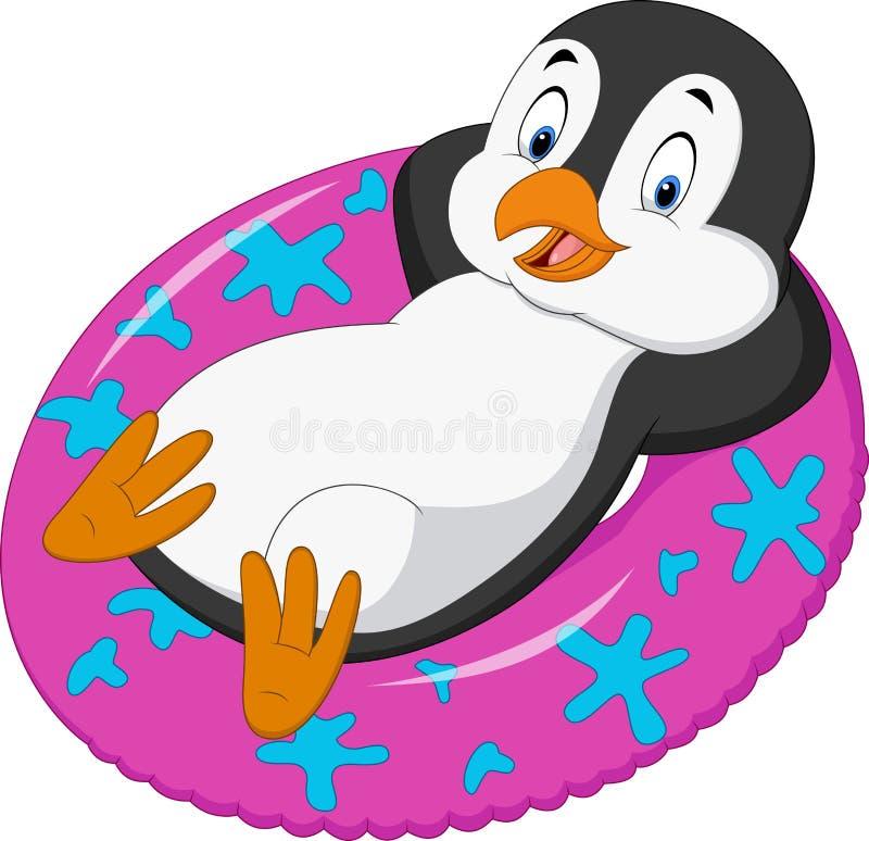 Manlig pingvin för tecknad film som kopplar av på den uppblåsbara cirkeln stock illustrationer