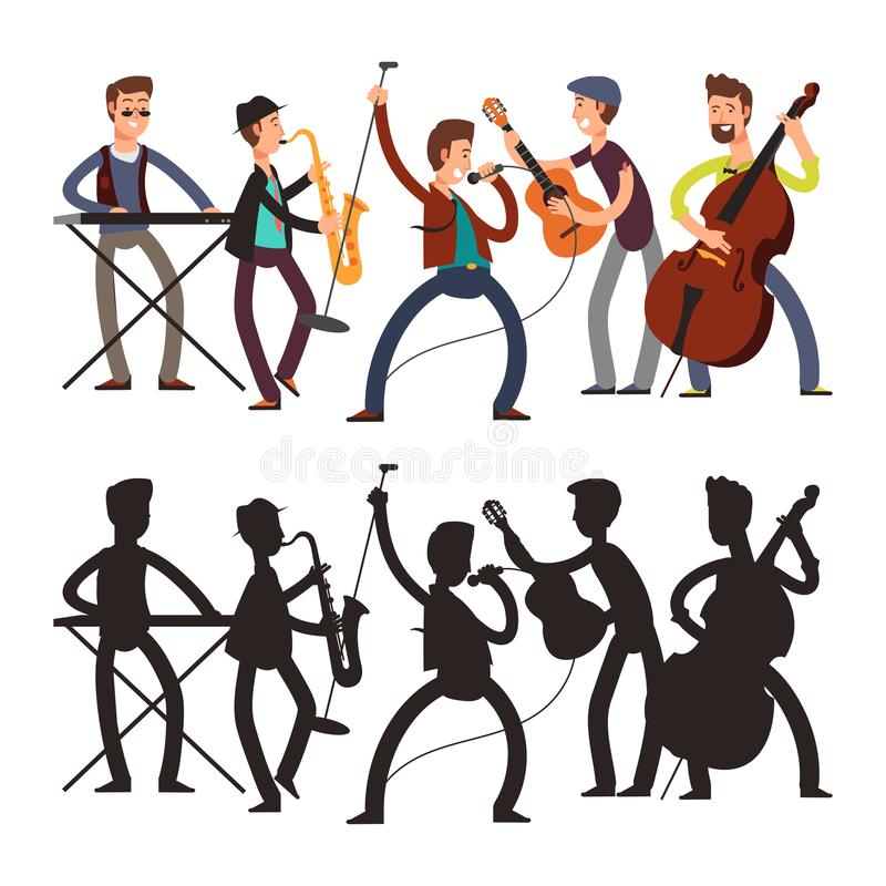 Manlig popmusikmusikband som spelar musik Vektorillustration av den tecknad filmteckenet och konturn royaltyfri illustrationer