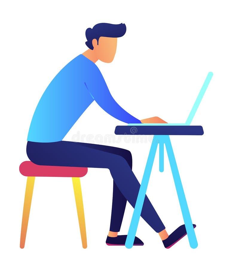 Manlig programmerare som använder bärbara datorn på skrivbordvektorillustrationen stock illustrationer
