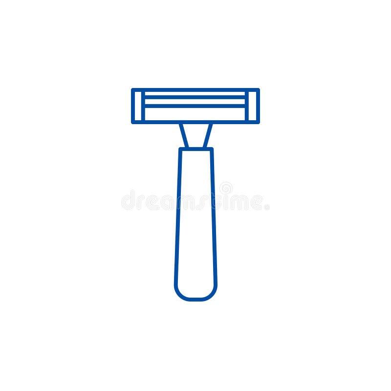 Manlig rakknivlinje symbolsbegrepp Plant vektorsymbol för manlig rakkniv, tecken, översiktsillustration vektor illustrationer