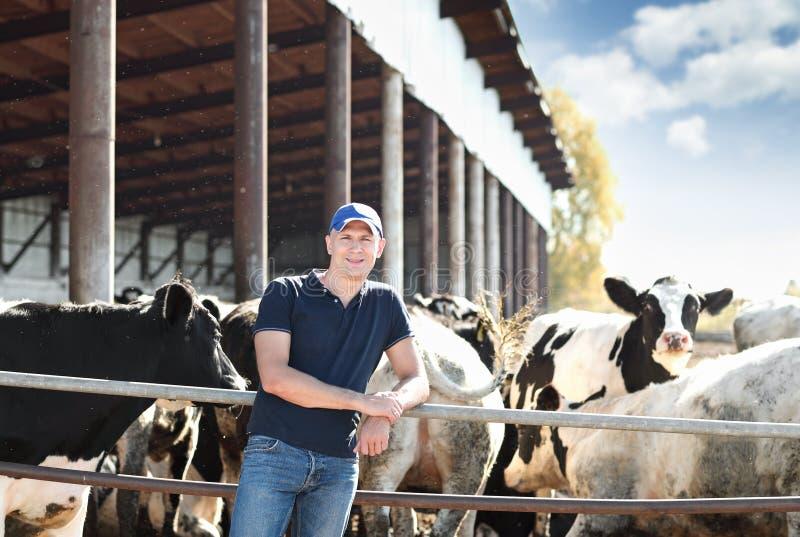 Manlig ranchägare i en lantgård fotografering för bildbyråer