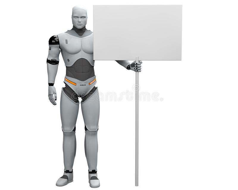 Manlig robot med det stora samlade tomma tecknet vektor illustrationer