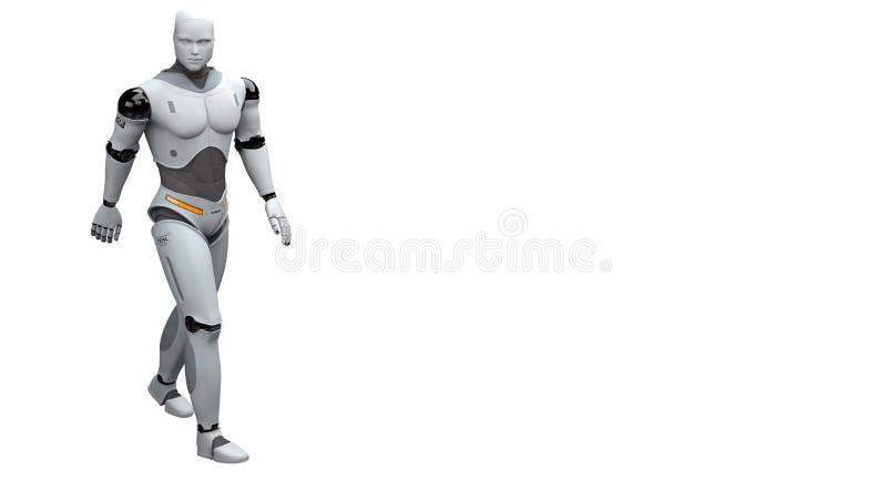 Manlig robot som går och tar en promenad royaltyfri illustrationer