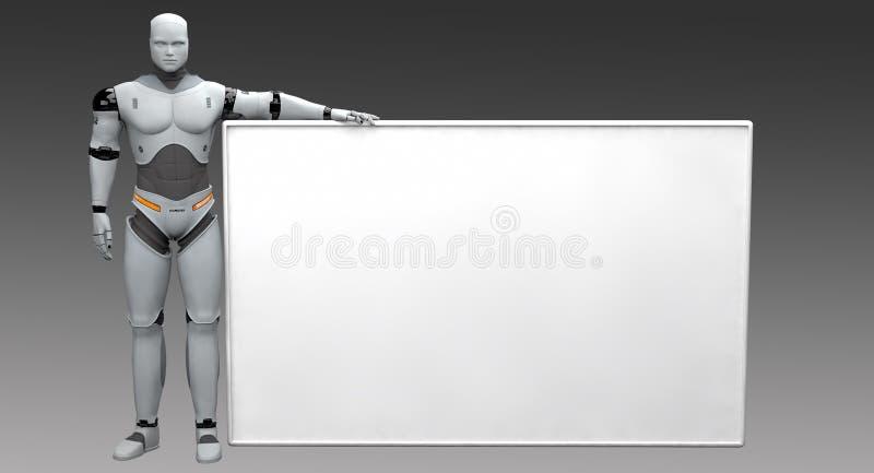 Manlig robot som rymmer det tomma tecknet på mörka Backgound royaltyfri illustrationer