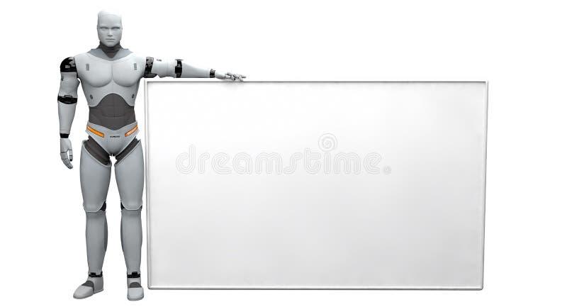 Manlig robot som rymmer det tomma tecknet på vit bakgrund royaltyfri illustrationer