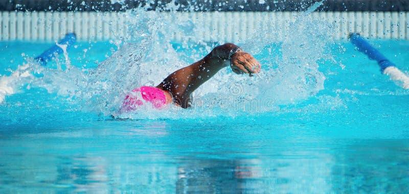Manlig simmare i en utomhus- simbassäng royaltyfri foto