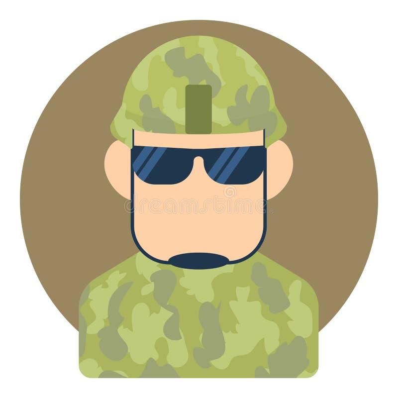 Manlig soldatsymbol för Avatar, lägenhetstil vektor illustrationer