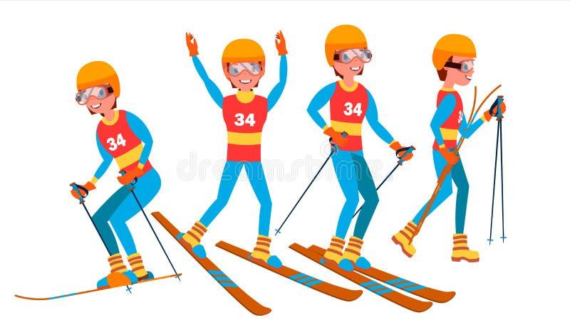 Manlig spelarevektor för skidåkning Lutningskonkurrens Rekreationlivsstil I handling Illustration för tecknad filmtecken stock illustrationer