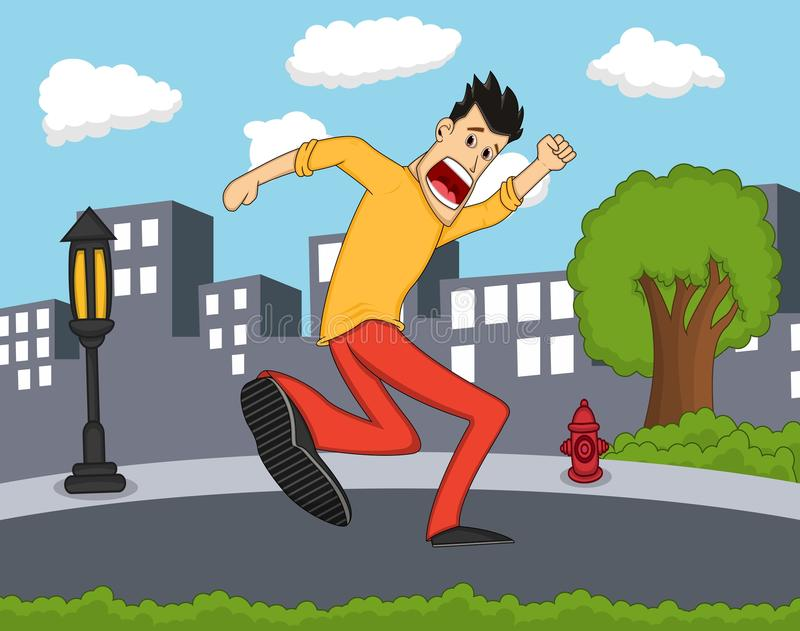 Manlig spring som skrämmas med stadsbakgrundstecknade filmen fotografering för bildbyråer