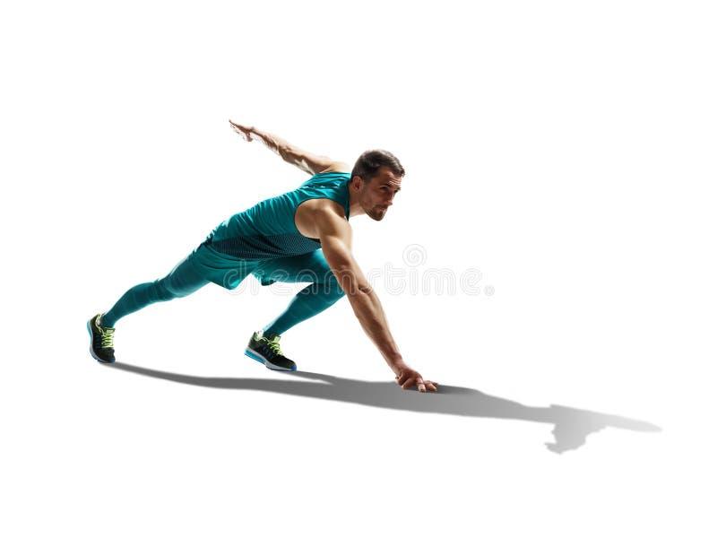 Manlig sprinterspring på isolerad bakgrund arkivbilder