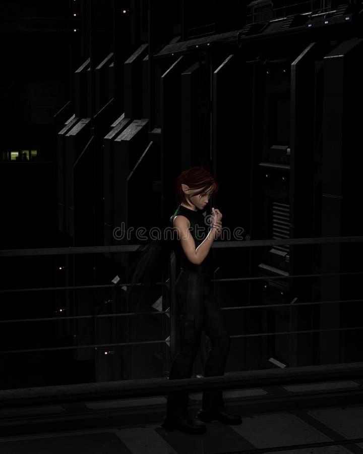 Manlig stads- fe på natten stock illustrationer