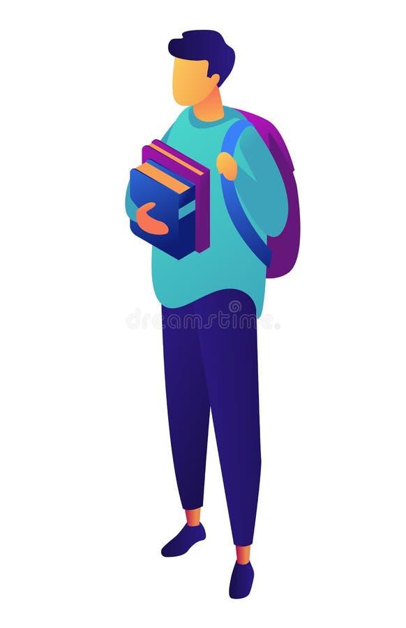 Manlig student med ryggsäcken som rymmer den isometriska illustrationen 3D för böcker stock illustrationer