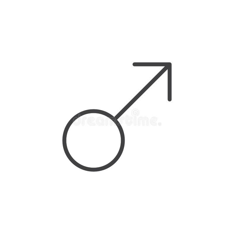 Manlig symbollinje symbol royaltyfri illustrationer