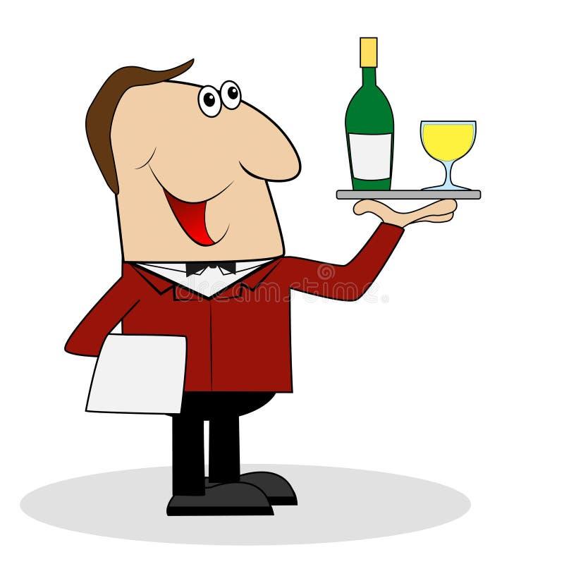 Manlig uppassare med en flaska och ett exponeringsglas av vin royaltyfri illustrationer