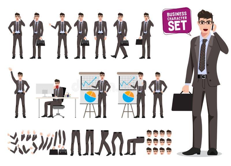 Manlig uppsättning för affärsteckenvektor Skapelse för tecknad filmtecken av affärsmannen som rymmer moblietelefonen stock illustrationer
