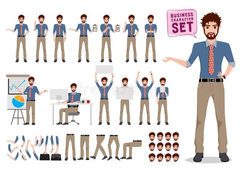 Manlig uppsättning för vektor för affärsteckenskapelse Tecken för kontorsmantecknad film royaltyfri illustrationer