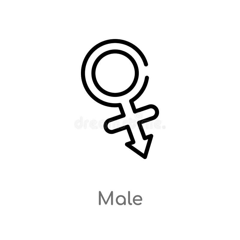 manlig vektorsymbol f?r ?versikt isolerad svart enkel linje best?ndsdelillustration fr?n medicinskt begrepp manlig symbol för red royaltyfri illustrationer