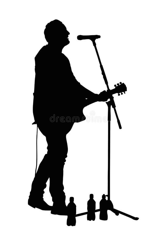 Manlig vokalist med gitarrkonturn vektor illustrationer