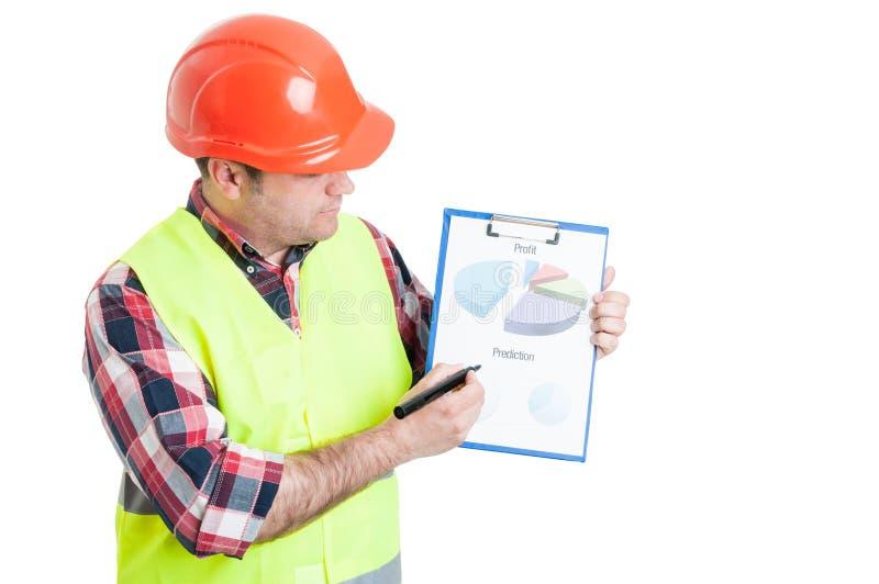 Manliga diagram för byggmästarevisningvinst arkivbilder