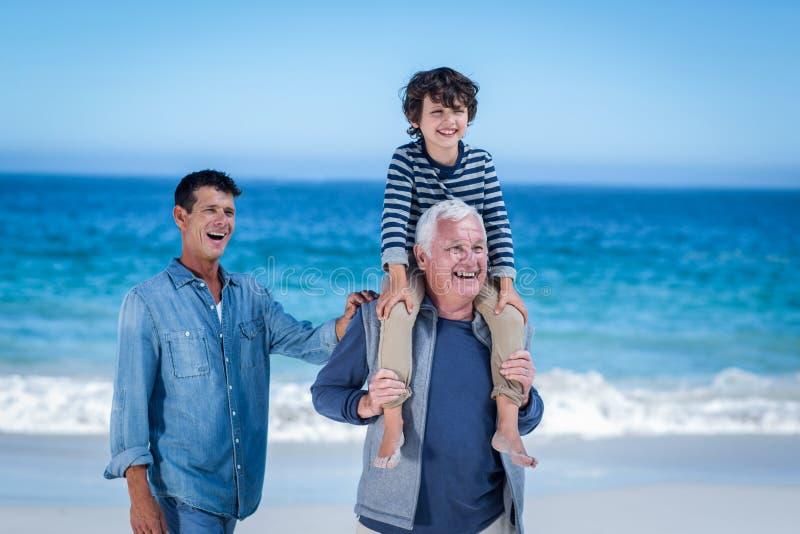 Manliga familjemedlemmar som spelar på stranden royaltyfri foto